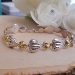 Jewelry - 925 Sterling Silver 2 Toned Heart Bracelet